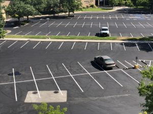 A mostly empty parking lot.