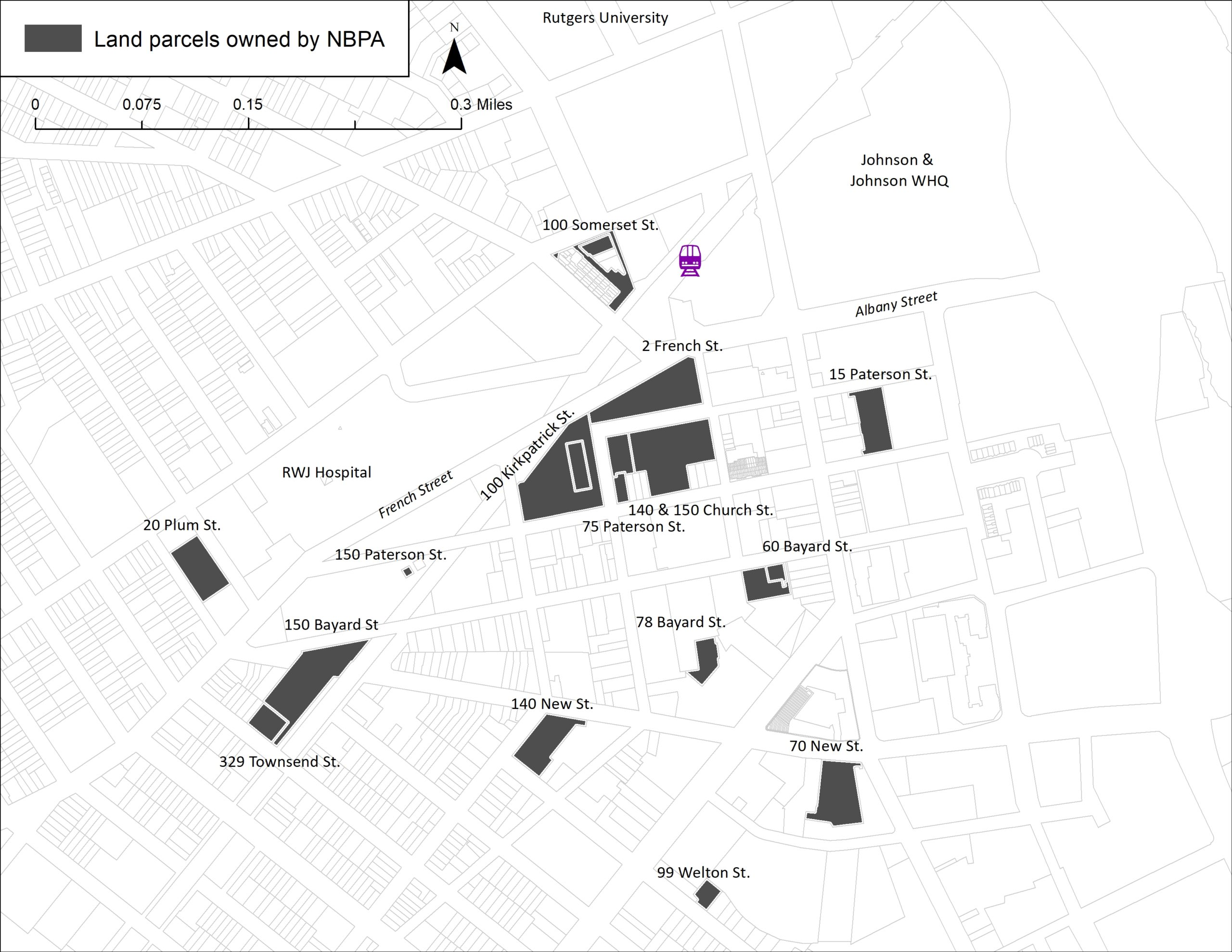 map of land parcels owned by New Jersey Parking Authority in New Brunswick, NJ